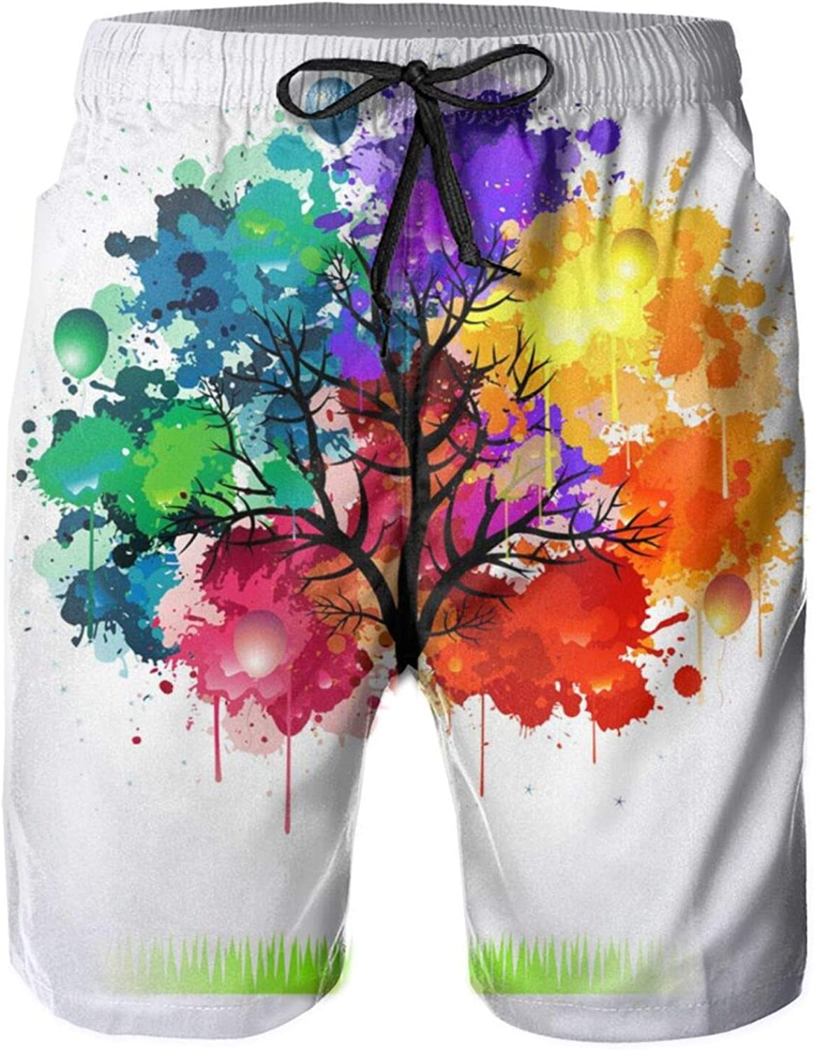 Yt92Pl@00 Mens 100% Polyester Cheap sale Colorful Beachwear Tree Comfortab Year-end gift