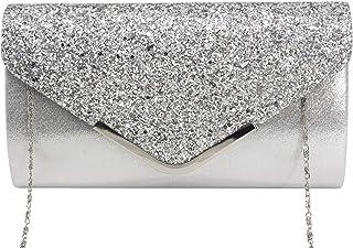 Vowes Damen Clutch Abendtasche Unterarmtasche Umhängetasche mit Strass-Steinen und Abnehmbarer Kette in den Farben Silber ...