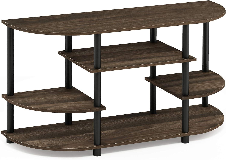 Furinno 15116CWN BK Jaya Simple Design Corner TV Stand, Columbia Walnut Black