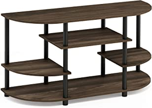 Furinno JAYA Simple Design Corner TV Stand, Columbia Walnut/Black