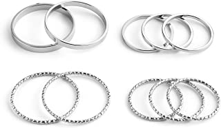 INSANEY 10 PCS Simple Bohemian Crystal Joint Knuckle Ring Sets Finger Rings Midi Ring Set Stackable