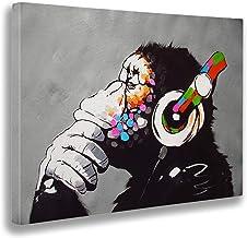 Giallobus - Schilderij - Afdrukken op Canvas - Banksy - Dj Aap - 50 X 70 Cm