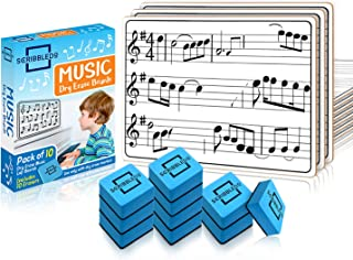 """10 Pack Dry Erase Staff Music Lap White Boards 9""""X12"""" l Write Musical Notes and More (Double Sided Mini Whiteboards) Erase..."""