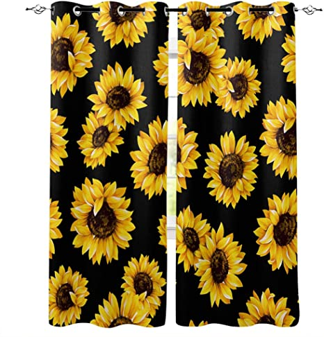 Amazon Com Window Curtain 72 Inch Long Drapes With Grommet Top Sunflower Curtains Set Of 2 Panels You Are My Sunshine Black Yellow Print Treatment For Bedroom Living Room Cafe