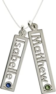 Customize a Name Charm Sterling Silver Cable Chain for All Makes Great Birthday Gift. AJs Collection Personalized Rectangle Triple Open Name Sterling Silver Necklace with Birthstone Setting