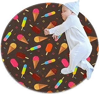 Färg glass, barn rund matta polyester överkast matta mjuk pedagogisk tvättbar matta barnkammare tipi tält lekmatta