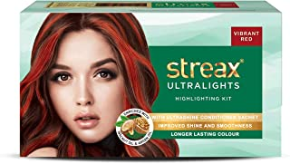 Streax Ultralights Highlighting Kit for Women & Men | Contains Walnut & Argan Oil | Shine On Conditioner | Longer Lasting Highlights | Vibrant Red | 120 ml