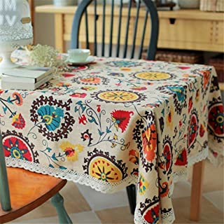 HOOYE Bohemian Style Rectangle Tablecloth Linen Lace Table Cloth for Dinner Parties Table Cover (55X55 inch, Bohemian Style)
