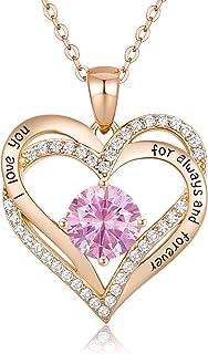 Forever Love Heart Pendant Necklaces for Women 925...