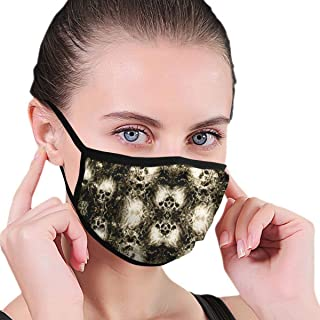 YongColer Women Men Teens Comfy Reusable Mouth Mask Breathable Three Layers Polyester Anti-dust Protection Half Face Mask - Flaming Clouds Skulls
