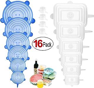 PAMIYO Tapas de Silicona Elásticas,16 Tapas Silicona Ajustables Cocina,Reutilizable Fundas Protectoras para Alimentos Tapa Tazas, Sin BPA,para Boles o Tarros,Tapa del tazón,Lavavajillas,microonda