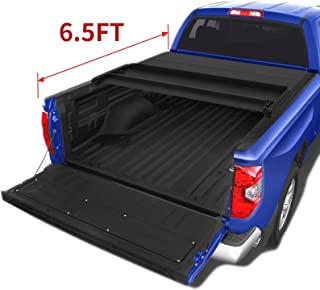 oEdRo Upgraded Soft Tri-Fold Truck Bed Tonneau Cover Compatible for 2014-2020 Toyota Tundra with 6.5 Feet Bed, Fleetside (Incl. Utility Track Bracket Kit)
