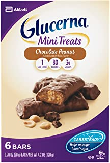 Glucerna Mini Treat Bars, To Help Manage Blood Sugar, Chocolate Peanut, 0.70 Ounce Bar, 6 Count (Packaging May Vary)