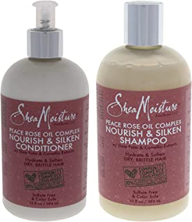 Shea Moisture Peace Rose Oil Complex Nourish And Silken Duo Shampoo And Conditioner For Unisex, 13 Oz.