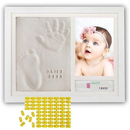 PITI COT Marco Huellas Bebé   Letras Números y Soporte para Pulsera de Nacimiento   Kit para Huella de Pie e Manos   Regalos para Bebès Recien Nacidos Bautizo Niño y Niña   Decoracion Habitacion