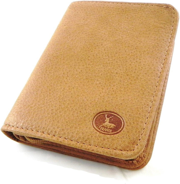 Wallet leather 'Frandi' brown nubuck camel.