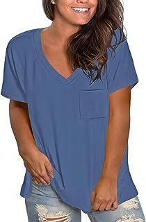 L-4XL Womens Plus Size Casual Basics V Neck T Shirts...