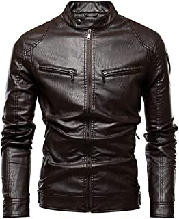 LinJiaJia_shop Autumn Motorcycle Casual Leather Jacket Coat Mens Biker Zipper PU Leather Jackets,DDT77-Coffee,XL
