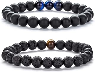 Hamoery Men Women 8mm Tiger Eye Stone Beads Bracelet...