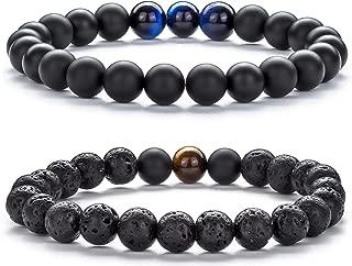 Hamoery Men Women 8mm Tiger Eye Stone Beads Bracelet...