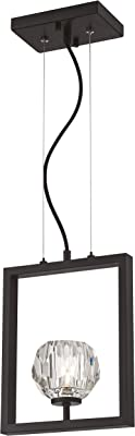 Éclairage Westinghouse 63674 Luminaire suspendu d'intérieur Zoa à une lampe, finition bronze industriel brossé mat avec verre cristallin