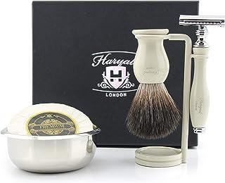 Haryali London Męski zestaw do golenia z podwójną krawędzią, maszynka do golenia włosów, syntetyczna szczotka do golenia, ...