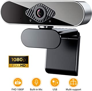HD 1080P Webcam with Microphone, USB Webcam for Desktop/Laptop, Streaming Computer Web Camera with 360-Degree Rotation for Video Conferencing, Teaching, Streaming, and Gaming