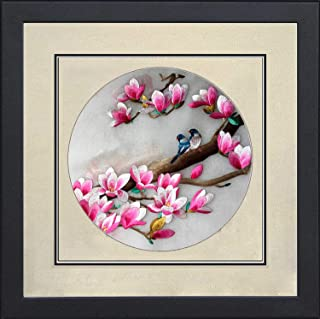 Silk Art 100% Handmade Embroidery Framed Two Love Birds & Cherry Blossom Trees Oriental Wall Hanging Art Asian Decoration Tapestry Artwork Picture Gifts