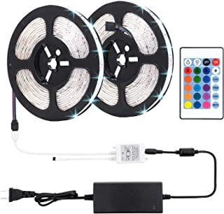 LED Strip Lights, 32.8ft/10m RGB Color Changing Light Strip Kit with Remote Control for Home, Bedroom, TV, Ceiling Decoration, Bright 5050 LEDs, Cutting and Waterproof Design, Easy Installation-DC 24V