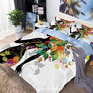 Homenon 3 Piece Bedding Set,Madame Butterfly Modern Version with Spring Spiral Circles Leaf Botany Girl,King Size,100% Microfiber Super Soft,Breathable,Multi
