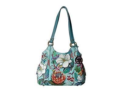 Anuschka Handbags 469 Triple Compartment Medium Satchel (Jardin Bleu) Handbags