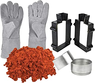 Sand Casting Set 5 Lbs Petrobond Quick Cast Sand Clay Safety Gloves Aluminum Round Molds Cast Iron Flask Frame Melt Pour Metals