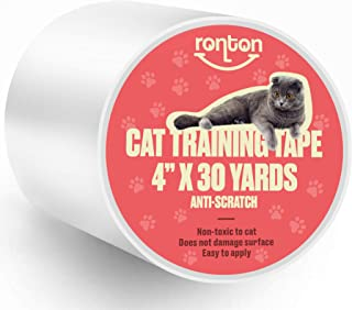 """Ronton Cat Scratch Deterrent Tape - 4"""" X 30 Yards (33% Wider) Anti Scratch Tape for Cats 