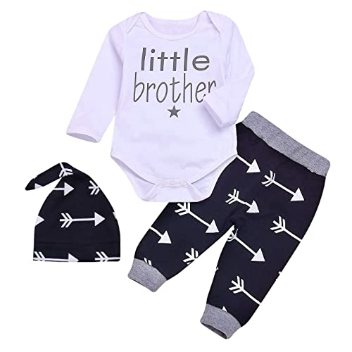 3e40f801221 SWNONE 3pcs Set Newborn Baby Boys Little Brother Long Sleeve Romper  Bodysuits+Arrow Long