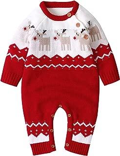 Newborn Baby Boy Romper Christmas Reindeer Jumpsuit Girl Long Sleeve Bodysuit Knitted Clothes