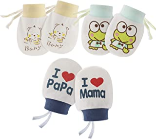 0-6 months 3Pairs Soft Cotton Infant Toddler Baby Mittens Gloves for Boy or Girl random color,Random QLING Anti-Scratch Newborn Baby Mittens