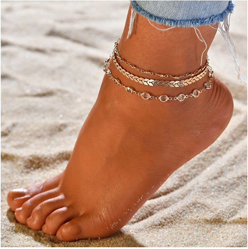 Zoestar Three-Layer Anklet Ankle Bracelet Foot Chain with Leaves Accessories Foot Jewelry for Women and Girls