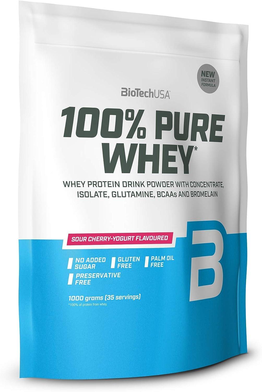BioTechUSA 100% Pure Whey Complejo de suero de leche con bromelina, aminoácidos, sin azúcar añadido, sin aceite de palma, con edulcorante, 1 kg, ...