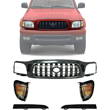 Front Chrome /& Black Grille Grill for 01-04 Toyota Tacoma Pickup Truck