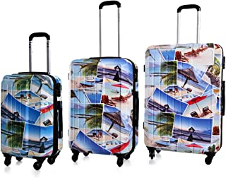 HighFlyer Printed Series 3Pcs Trolley Hard Luggage Bag Set - Beach