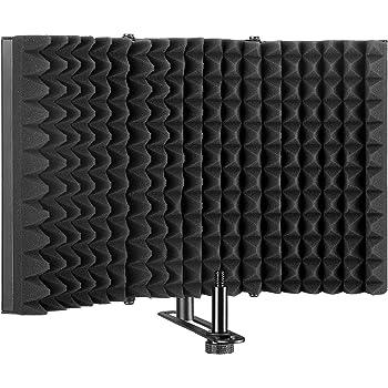 AGPTEK マイク分離シールド 折り畳み式 三つ折り スタジオマイク吸音フォームリフレクター マランツプロ ボーカル録音・放送用リフレクション・フィルター マイクスタンド設置型 卓上設置 Sound Shield 録音吸音材