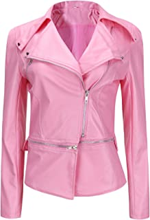Women's Party Hoodie Autumn And Winter Coat Machine Wagon Jacket Zipper Two Wear Leather Zipped Cute Suits (Color : Pink, Size : 4XL)