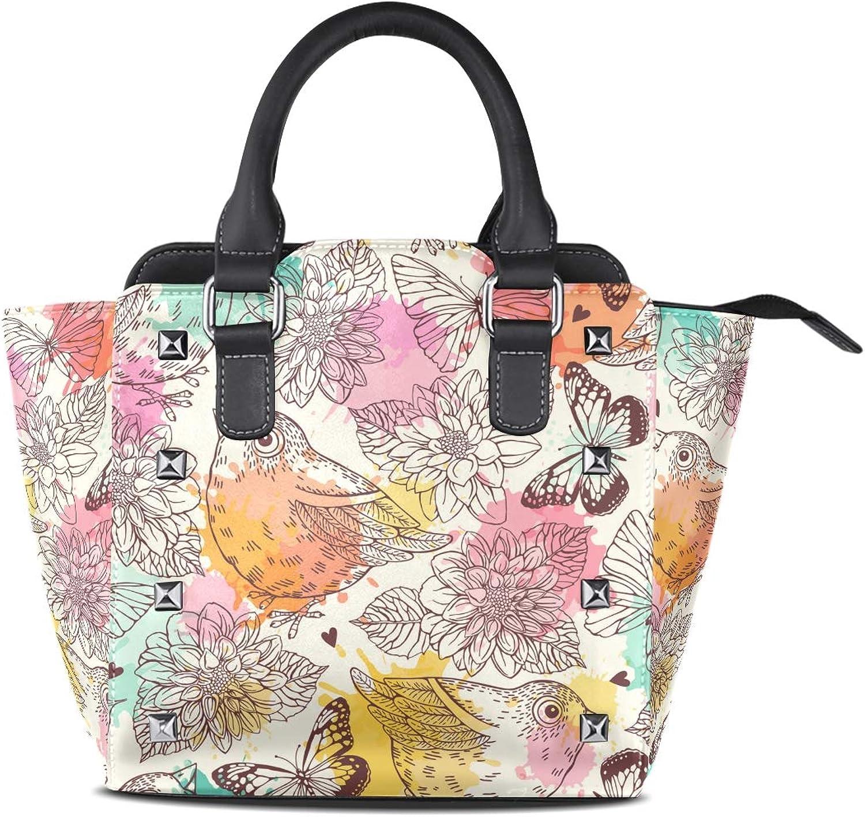 My Little Nest Women's Top Handle Satchel Handbag Retro Birds Butterflies Ladies PU Leather Shoulder Bag Crossbody Bag