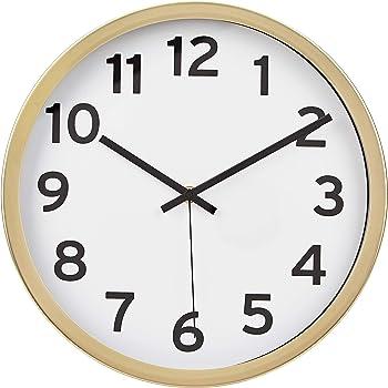 "AmazonBasics 12"" Numbered Wall Clock - Brass"