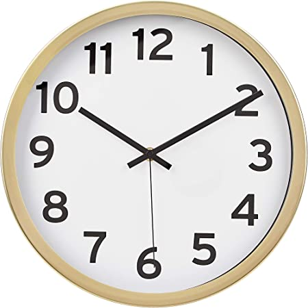 Amazon Basics 30.5 Numbered Wall Clock, Brass