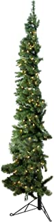 Home Heritage 5 Foot Clear Pre-Lit Slim Artificial Indoor Corner Christmas Tree with Warm White LED Lights and Stand