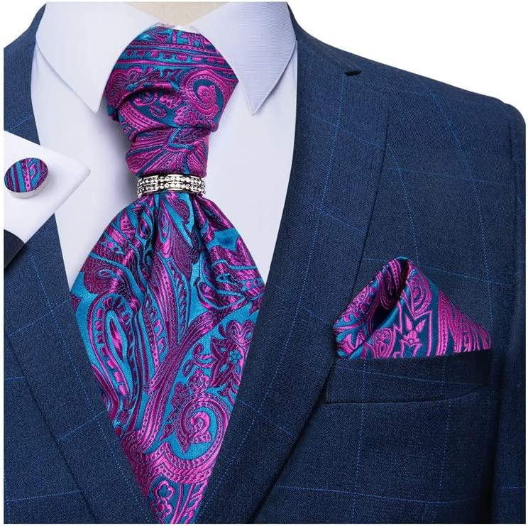 JJZXC Men Suit Floral Silk Wedding Men Tie Pocket Square Necktie Sleeveless Jacket (Color : C)
