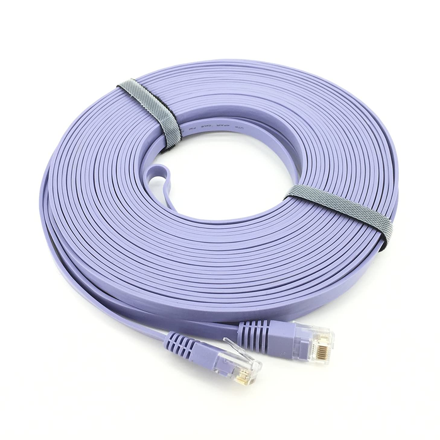 Pasow CAT 6 Ethernet Patch Cable Flat Snagless Network LAN Cord - Purple (50 Feet)