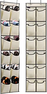 MISSLO Over The Door Hanging Shoe Organizer Rack Narrow Closet Storage Bag Holder with 12 Large Fabric Pockets, 2 Pack