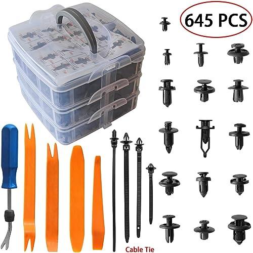 LEDAUT 625PCS Car Push Retainer Clips Plastic Fasteners Kit 16 Most Popular Sizes Auto Bumper Fender Door Trim Panel ...